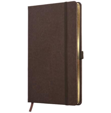 Anteckningsbok i äkta skinn - mörk brun/guld