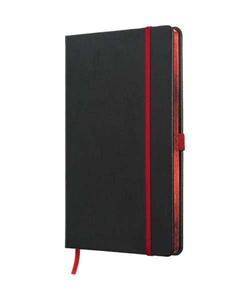 Anteckningsbok i äkta skinn - svart/röd